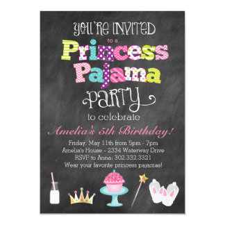 Invitación del fiesta de la princesa pijama de la