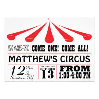Invitación del fiesta de la tienda de circo