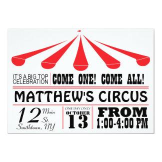 Invitación del fiesta de la tienda de circo invitación 12,7 x 17,8 cm
