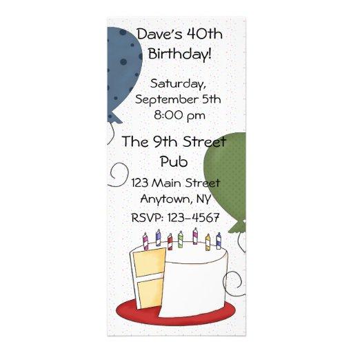 Invitación del fiesta de la torta de cumpleaños