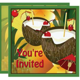 Invitación del fiesta de las bebidas del coco de