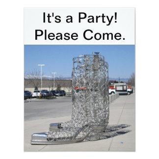 Invitación del fiesta de las botas de vaquero