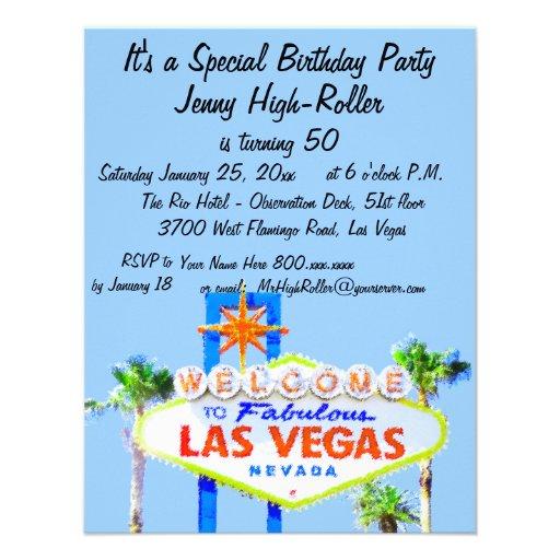 Invitación del fiesta de Las Vegas con el signo po