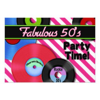invitación del fiesta de los años 50