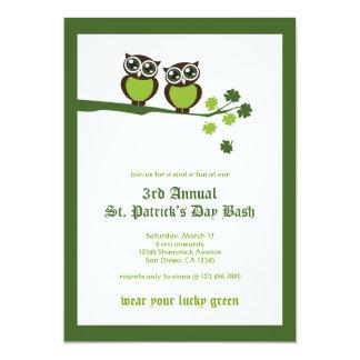 Invitación del fiesta de los búhos del verde del