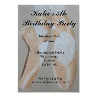 Invitación del fiesta de los zapatos de ballet de