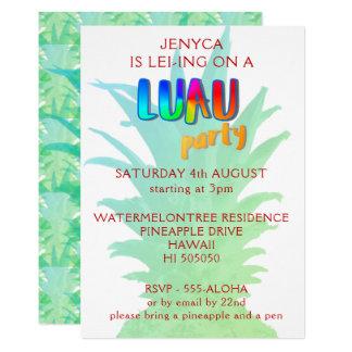 Invitación del fiesta de Luau de la piña