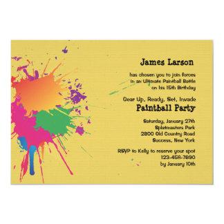 Invitación del fiesta de Paintball