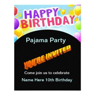 Invitación del fiesta de pijama del feliz cumpleañ
