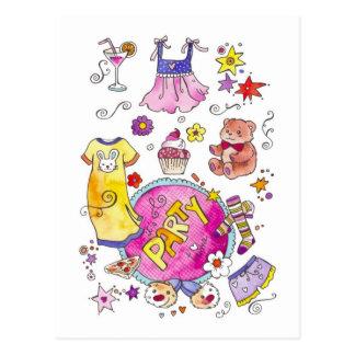 Invitación del fiesta de pijama tarjetas postales