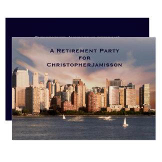 Invitación del fiesta de retiro, horizonte de NYC