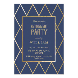 Invitación del fiesta de retiro - oro elegante, de