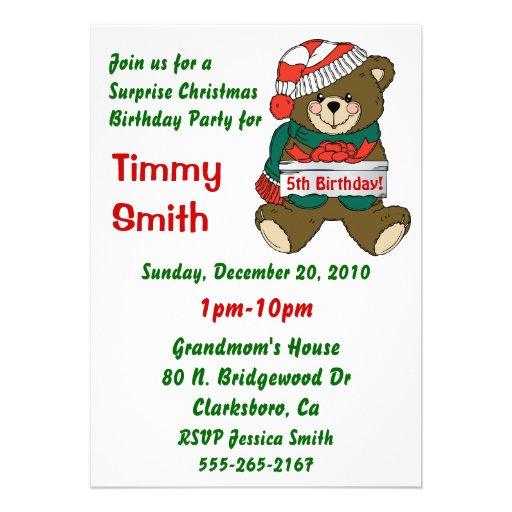 Kids Christmas Birthday Party Invites