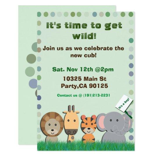 Invitación del fiesta del bebé del safari