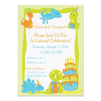 Invitación del fiesta del dinosaurio del bebé