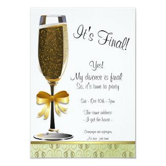 Invitación del fiesta del divorcio de la flauta de invitación 8,9 x 12,7 cm