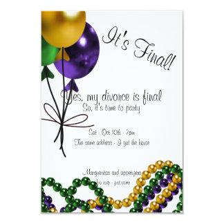 Invitación del fiesta del divorcio de los globos invitación 8,9 x 12,7 cm