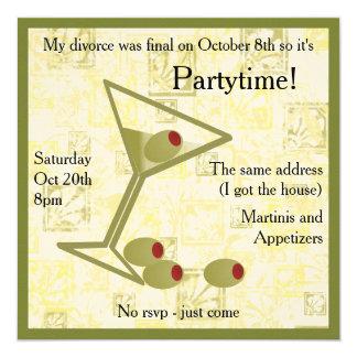 Invitación del fiesta del divorcio de Martini Invitación 13,3 Cm X 13,3cm