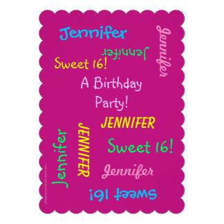 Invitación del fiesta del dulce 16, personalizada,