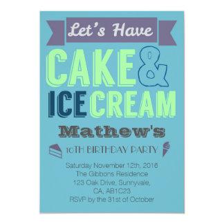 Invitación del fiesta del helado de la torta del