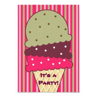 Invitación del fiesta del helado de las rayas de