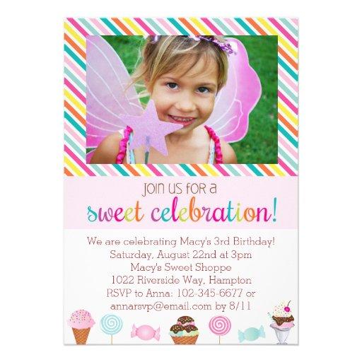 Invitación del fiesta del helado y del caramelo