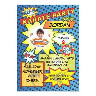 Invitación del fiesta del karate del cómic