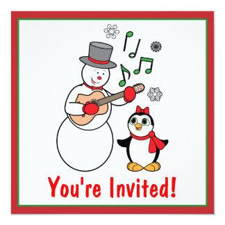 Invitación del fiesta del muñeco de nieve y del