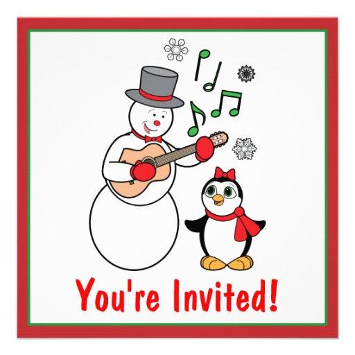 Invitación del fiesta del muñeco de nieve y del pi