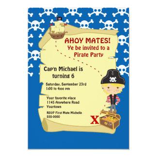 Invitación del fiesta del pirata del mapa del