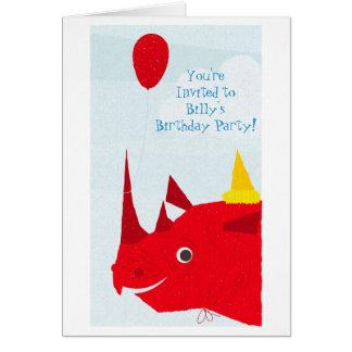 Invitación del fiesta del rinoceronte (texto edita tarjeta pequeña