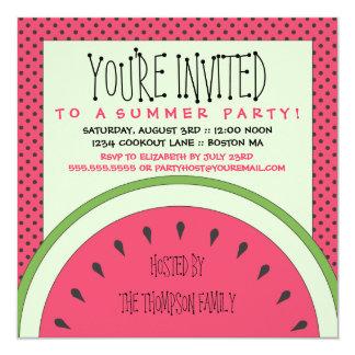 Invitación del fiesta del verano de la sandía invitación 13,3 cm x 13,3cm