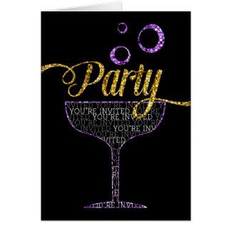 Invitación del fiesta - vidrio y burbujas de tarjeta de felicitación