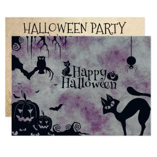 Invitación del gato negro del fiesta de Halloween