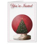 Invitación del globo de la nieve del árbol de navi felicitaciones