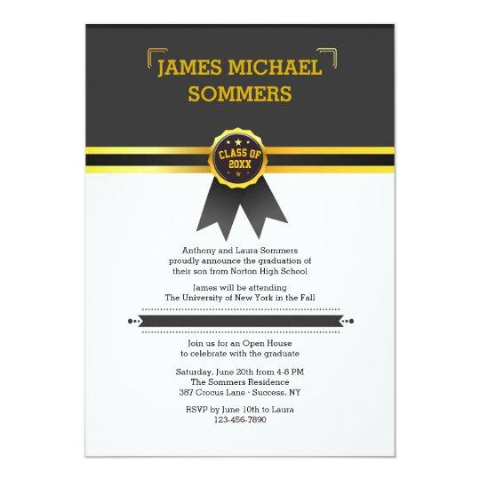 Invitación del graduado de la cinta del oro