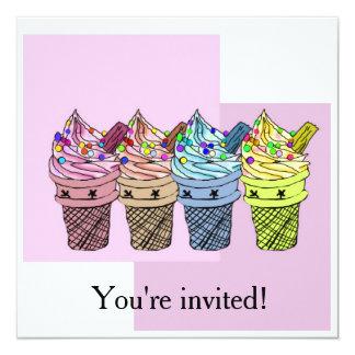 Invitación del helado cuatro invitación 13,3 cm x 13,3cm