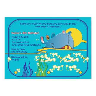 Invitación del hipopótamo de la natación