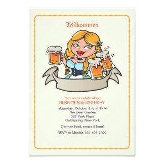 Invitación del jardín de la cerveza de Fräulein