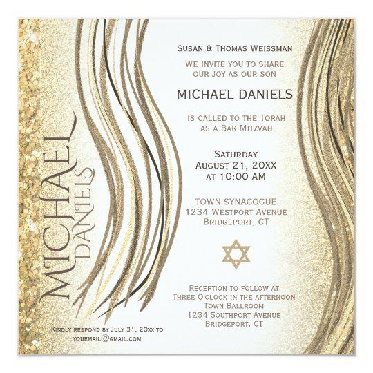 Invitación Del Mantón De Rezo Del Oro De Mitzvah