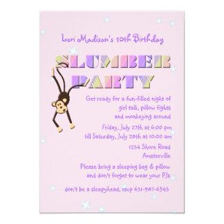 Invitación del mono de la fiesta de pijamas