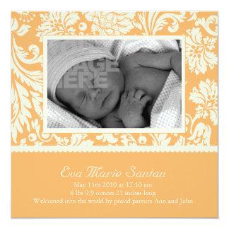 Invitación del nacimiento - creamsicle floral invitación 13,3 cm x 13,3cm