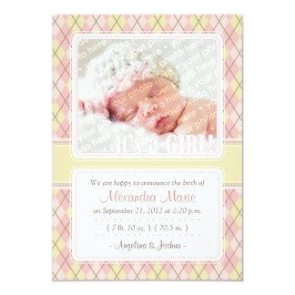 Invitación del nacimiento de Argyle (amarillo y