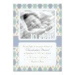 Invitación del nacimiento de Argyle (azul y Invitación 12,7 X 17,8 Cm