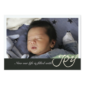 Invitación del nacimiento de la foto de la alegría