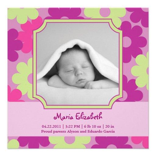 Invitación del nacimiento de la foto de la niña