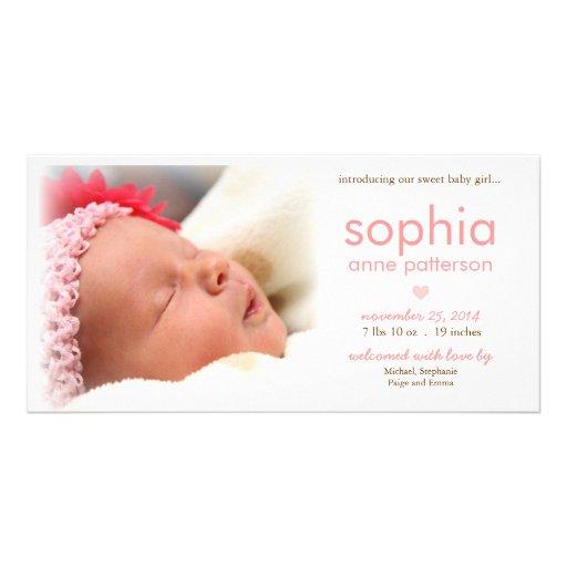 Invitación del nacimiento de la foto de la niña de tarjeta personal con foto