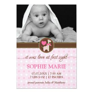 Invitación del nacimiento de la foto del bebé de invitación 12,7 x 17,8 cm