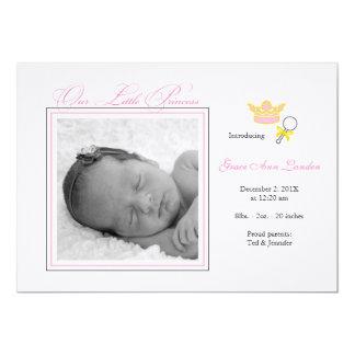 Invitación del nacimiento de la foto del chica -
