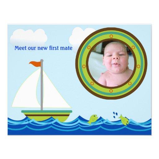 Invitación del nacimiento de la foto del velero